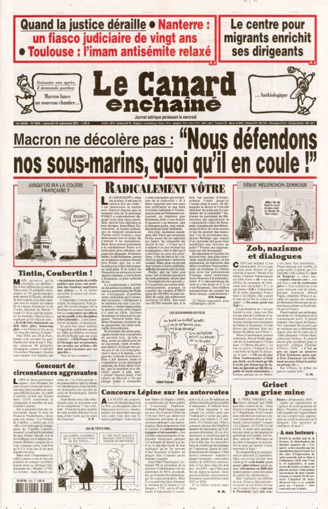 Le Canard enchaîné : journal satirique paraissant le mercredi. 5263, Mercredi 22 Septembre 2021  