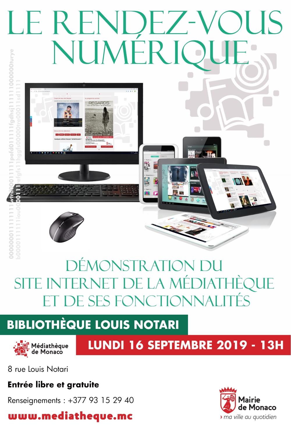 Le rendez-vous numérique - Lundi 16 septembre 2019 à 13h - Bibliothèque Louis Notari